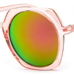 Chic Retro Round Flash Mirror Transparent Irregular Rim Sunglasses For Women -