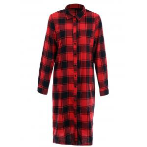 Long Sleeve Plaid Single-Breasted Midi Shirt Dress