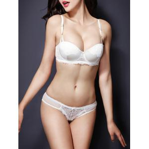 Fashionable Push Up Spaghetti Strap Lace Bra Set For Women -