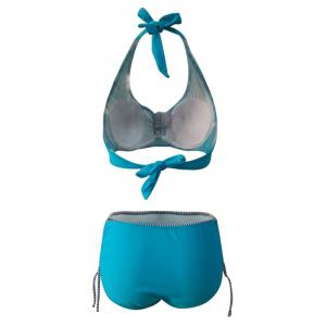 Chic Plus Size Halter Spliced Printed Women's Bikini Set - LAKE GREEN 6XL