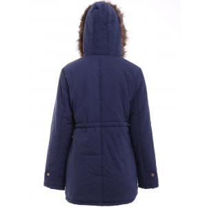 Chic Hooded Drawstring Design Embroidered Fleece Coat For Women - BLACK GREY M