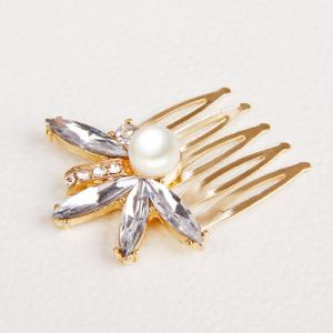 Gorgeous Rhinestone Faux Pearl Hair Comb For Women -