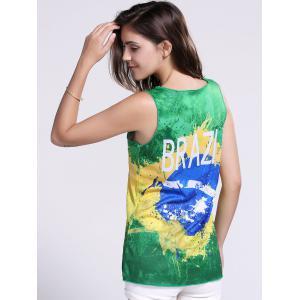 Women's Chic Brazil Hit Color Print Tank Top - GREEN XL