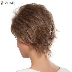 Masculine Capless Short Towheaded Human Hair Side Bang Women's Siv Wig -