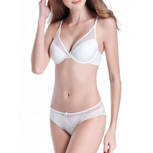 Mesh Panel V Shape Push Up Bra Set -
