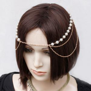 Retro Multilayered Faux Pearl Forehead Chain For Women -