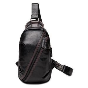 Simple Style Zipper and Hit Colour Design Messenger Bag For Men