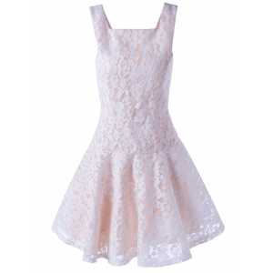 Sleeveless Lace A-Line Cocktail Party Dress - White - S