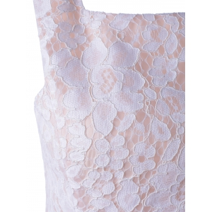 Sleeveless Lace A-Line Cocktail Party Dress - WHITE XL