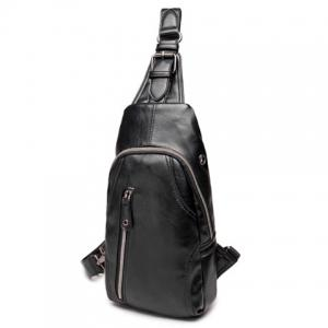 Leisure Style Black Color and Zippers Design Messenger Bag For Men -
