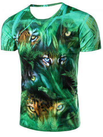 3D Jungle and Leopard Printed Round Neck Short Sleeve T-Shirt For Men - COLORMIX 2XL