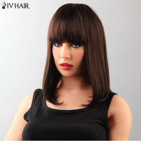 Online Attractive Medium Straight Tail Adduction Human Hair Capless Neat Bang Siv Wig For Women