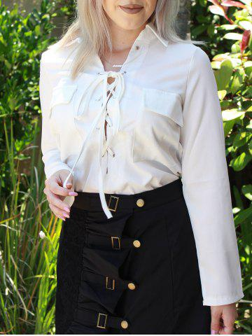 Turn-Down Collar Long Sleeve White Lace-Up Women's Shirt - White - L