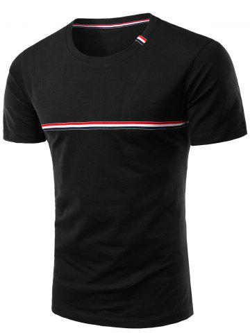Hot Trendy Men's Round Neck Striped Printed Short Sleeve T-Shirt BLACK 3XL