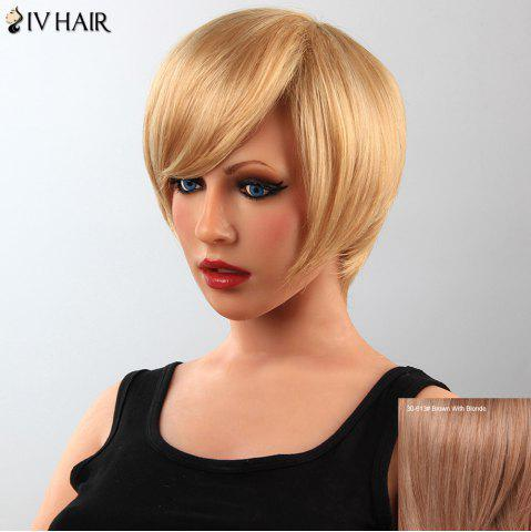Unique Stunning Short Straight Human Hair Side Bang Capless Siv Wig For Women