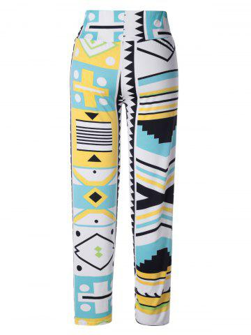 Buy Stylish Multi Pattern Print Elastic Waist Pants For Women
