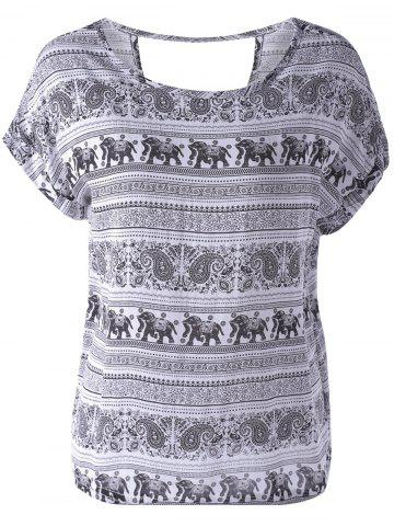 Best Loose-Fitting Scoop Neck Backless Print Ethnic Style T-Shirt For Women