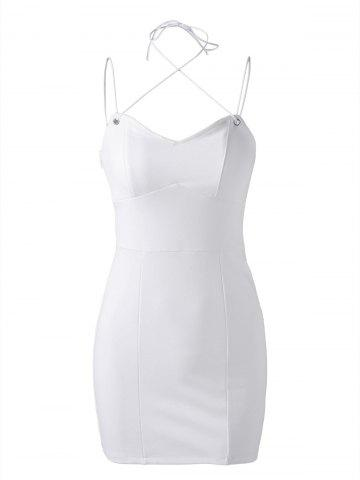 Online Simple V-Neck Fitted Spaghetti Strap Sleeveless Mini Dress For Women