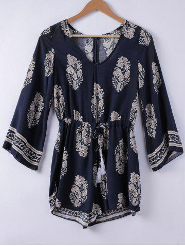 Outfits Ethnic Style V-Neck 3/4 Sleeve Printed Romper For Women - L PURPLISH BLUE Mobile