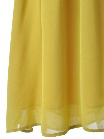 New Fashionable V-Neck Cap Sleeve Cut Out Ruffle Dress For Women - L YELLOW Mobile