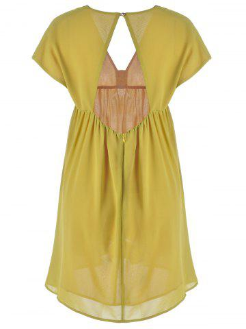 Discount Fashionable V-Neck Cap Sleeve Cut Out Ruffle Dress For Women - L YELLOW Mobile