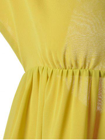 Outfits Fashionable V-Neck Cap Sleeve Cut Out Ruffle Dress For Women - L YELLOW Mobile