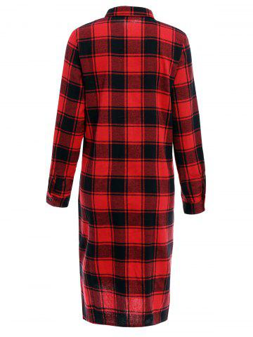 Cheap Long Sleeve Plaid Single-Breasted Midi Shirt Dress - XL RED Mobile