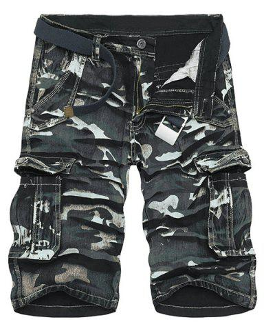 Camo Print Multi-Pocket Loose Fit Straight Leg Zipper Fly Cargo Shorts For Men - Black - 31