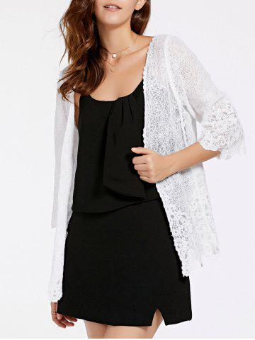 Online Stylish 3/4 Sleeve Collarless Hollow Out Women's Lace Blouse