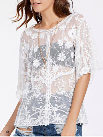 Outfits Alluring Half Sleeve Round Neck Women's Lace Blouse