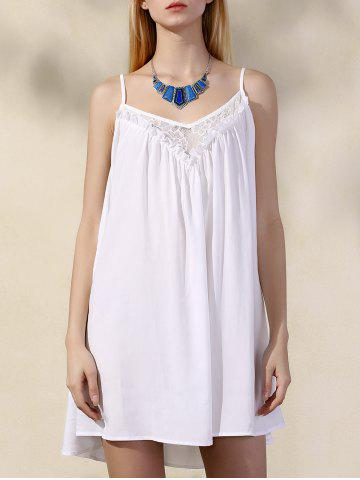 Chiffon Spaghetti Strap Lace Trim Summer Dress - White - M