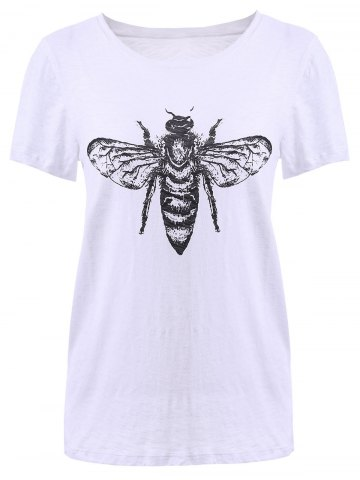Discount Fashionable Scoop Neck Print T-Shirt For Women WHITE XL