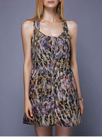Outfit Fashionable Sleeveless Printed Button Design Women's Dress