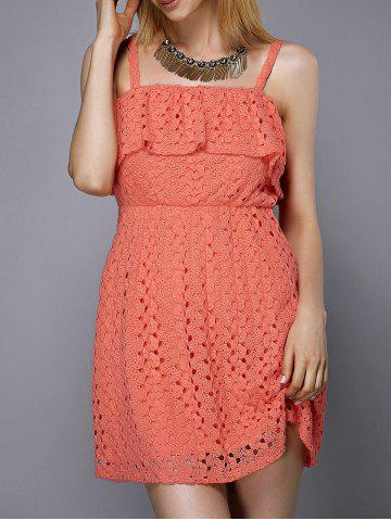 Outfit Trendy Spaghetti Strap Hollow Out Solid Color Flounce Women's Dress