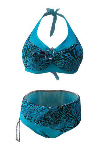 Cheap Chic Plus Size Halter Spliced Printed Women's Bikini Set LAKE GREEN 6XL