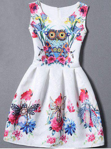 Affordable Sleeveless Owl Floral Fit and  Flare Dress