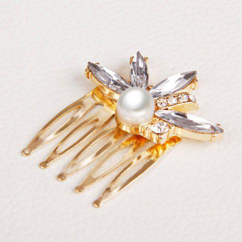 Outfits Gorgeous Rhinestone Faux Pearl Hair Comb For Women