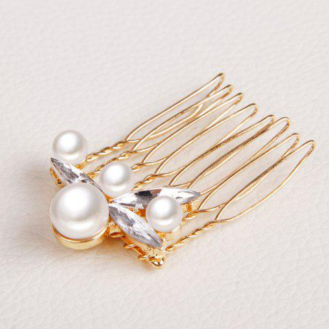 Best Gorgeous Rhinestone Faux Pearl Hair Comb Jewelry For Women - GOLDEN  Mobile