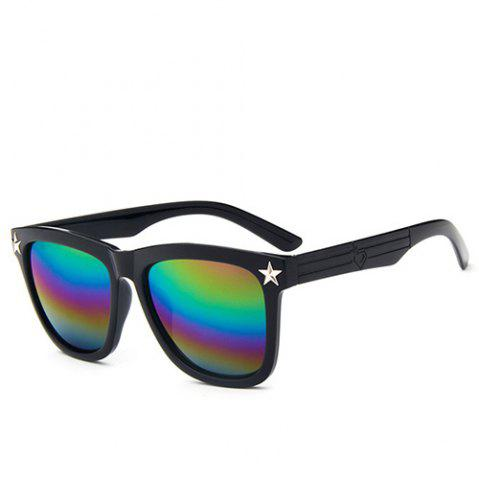 Store Stylish Hipsters Star Rainbow Color Flash Mirror Unisex Black Quadrate Sunglasses