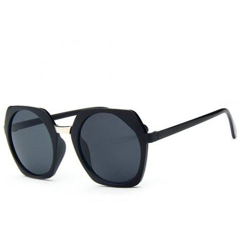 Unique Stylish Retro Round Lenses Irregular Rim Unisex Black Sunglasses