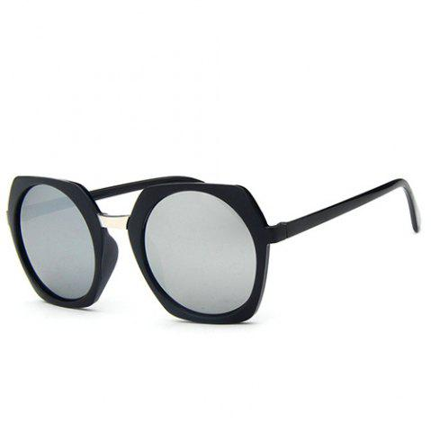 Best Stylish Retro Round Flash Mirror Irregular Rim Unisex Black Sunglasses