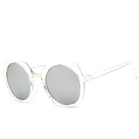 Chic Chic Retro Round Flash Mirror Transparent Irregular Rim Sunglasses For Women