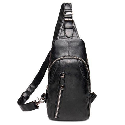Affordable Leisure Style Black Color and Zippers Design Messenger Bag For Men