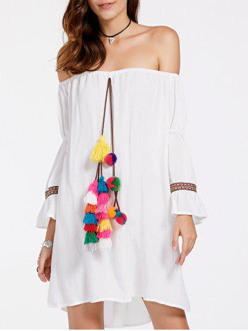 Fancy Stylish Off-The-Shoulder Colorful Ball Design Women's Dress
