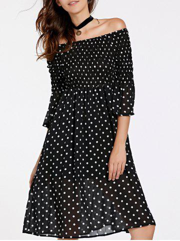 New Stylish 3/4 Sleeve Off-The-Shoulder Polka Dot Women's Dress