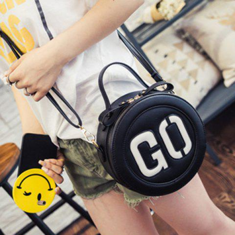 Discount Sweet Letter Pattern and Colour Block Design Crossbody Bag For Women - BLACK  Mobile