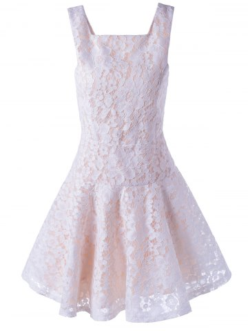 Outfit Sleeveless Lace A-Line Cocktail Party Dress - M WHITE Mobile