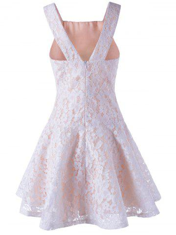 Latest Sleeveless Lace A-Line Cocktail Party Dress - S WHITE Mobile
