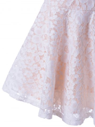 Fancy Sleeveless Lace A-Line Cocktail Party Dress - S WHITE Mobile