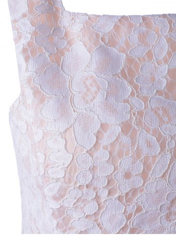 Affordable Sleeveless Lace A-Line Cocktail Party Dress - S WHITE Mobile